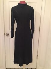 vintage women's 1930's black satin and crepe dress, green glass art deco buttons