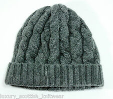 Made in Scotland Chunky Cable Hat Beanie in Grey Wool / Angora Blend RRP £60