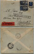 REGNO-Floreale+Imperiale(253+Due Ex12) Busta Espresso Milano x Londra 29.1.1930