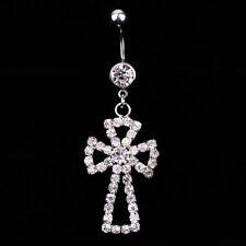 Crystal Cross Rhinestone Dangle Belly Button Navel Ring Bar Piercing Jewel Gift