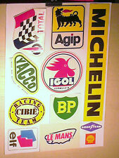 FAC SIMILE PLANCHE AUTOCOLLANTS GARAGISTES 1970 YACCO CIBIE AGIP TOTAL BP ....