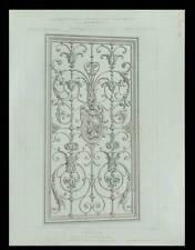 PANNEAU EN FER FORGE - 1875 - PLANCHE ARCHITECTURE - AUGUSTE BAUDRIT, GRILLE