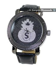 mens black diamond watch silver money bag dial leather strap warranty maxx