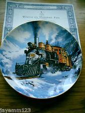 FRANKLIN MINT PLATE TRAIN WINTER ON MARSHALL PASS NICHOLAS TRUDGIAN PERFECT