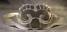 Really Nice Sterling Silver Abstract Face Heavy Thick Cuff Bracelet