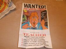 "1980 Topps  12"" x 20"" ""Wanted Posters"" The Teacher #16"