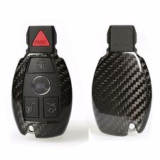 Fashion Black Carbon Fiber Remote Keyless Key Cover Case Shell for Mercedes Benz