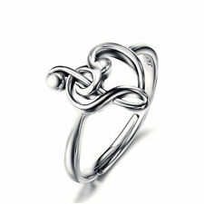 Treble Clef Bass Heart Ring - 925 Sterling Silver - Music Note Heart Ring
