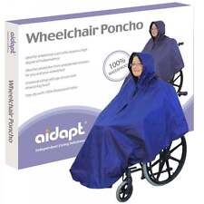 Aidapt Wheelchair Rain Cover Warm Dry Poncho Waterproof Cape Hood Universal Blue
