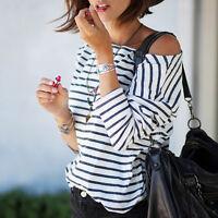 Sexy Women Stripe Summer Vest Top Long Sleeve Blouse Casual Tank Tops T-Shirt