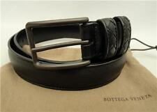 Bottega Veneta Black Intrecciato Trimmed  Leather Waist Belt 85 RRP330GBP