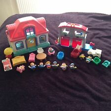 Little People Sounds Fire Station And House With Figures Vehicle Furniture Etc