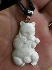 Panda Eating Bamboo In Buffalo Bone Hand Carved Pendant Sterling Silver Bale