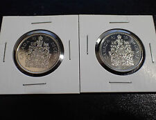 2 X Canada 50 cents coins 2014 and 2015 UNC Half Dollar Canadian