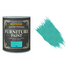 Rust-Oleum Teal Satin Premium Furniture Paint Vintage Shabby Chic 125ml