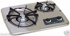 Compact 2 Burner LP Gas Cook On Top Range Stove RV Camper For Trip Kitchen Chef
