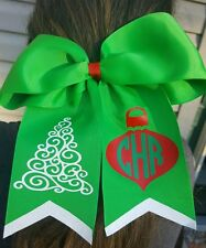 Holiday Christmas Ornament Tree Personalized Cheer Style Hair Bow Glitter Tails