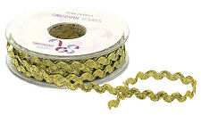5MM RIC RAC BRAID TRIMMING, ART & CRAFTS, 20 MTR REEL, METALLIC GOLD OR SILVER
