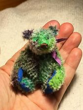 "Miniature Hand Sewn 2-3/4"" RAINBOW Tie-Dyed Mohair Teddy Bear by L. Wright"