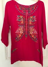 NWT JOHNNY WAS ARI Embroidered Blouse Tunic in Passion Fruit Sz S Small $212