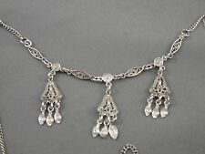 Sterling Silver Necklace 925 XPYEAAEE Etruscan Dangling Tiny Engraved Leaves