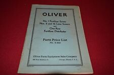 Oliver Tractor No. 1 Fertilizer No2 16 Lime Spe Dealer's Parts Book Manual BVPA