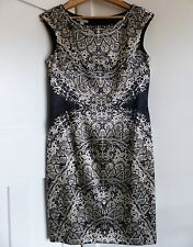 Immaculate London Times Stunning Dress, Black & Cream Satin Material, Size UK 12