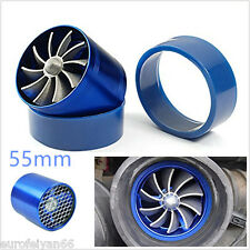 55mm Blue Car Air Intake Fuel Gas Saver Single Fan Engine Enhancer Turbo Charger