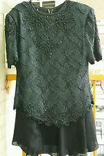 Lord &T Beaded embroider  two piece  wedding party cocktail woman dress vintage