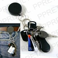 RETRACTABLE KEY RING Chain/Cord/Extend/Recoil Keyring Hold EXTENDING BELT CLIP