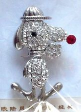 FASCINO SNOOPY STYLE DOG IN HAT RHINESTONE PIN BROOCH NIP