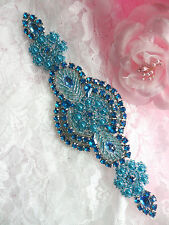 XR314 Turquoise Beaded Rhinestone Applique Patch Motif Sewing Crafts 6""