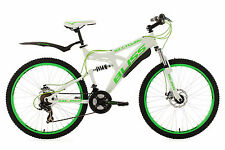 "MOUNTAIN BIKE FULL SUSPENSION 26"" ""BLISS"" WHITE-GREEN 21 GEARS FRAME 47 CM 535M"