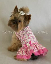 L New Pretty Pink Daisy Dog Dress clothes pet apparel clothing Large Pc Dog®