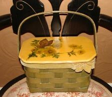 Vintage 70's Basket Purse Decoupage Butterfly and Daisies Lovely!