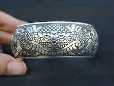 "Inward Edged Huge Thick Tibetan Carved Lion Arch Cuff Bracelet -7 1/2"" MIGHTY"