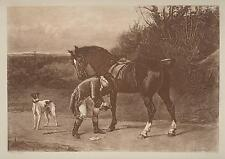 ANTIQUE EQUESTRIAN HORSE SHOE SHOEING GREYHOUND DOG HEYWOOD HARDY OLD ART PRINT