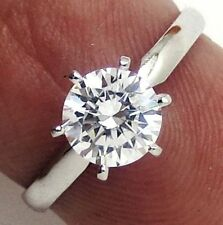 0.51 ct Round Brilliant cut Solitaire Engagement Ring Real 14k Solid White Gold