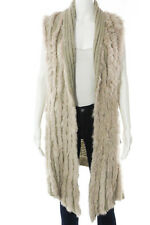Bagatelle Beige Rabbit Fur Sleeveless Long Cardigan Sweater Size 1X New JG04