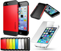 Slim Armor 2-Piece Hybrid Case Cover for Apple iPhone Models + HD Tempered Glass