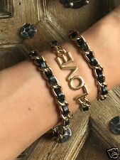 Urban Trend Love Letters Black Leather Gold Affirmation Wrap Bracelet / Necklace