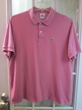 Authentic Lacoste Raspberry Rose Color Short Sleeve Polo Shirt Men 7 **VG**