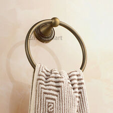 Antique Bronze Wall Mounted Bathroom Towel Ring Rack Hanger Traditional E017