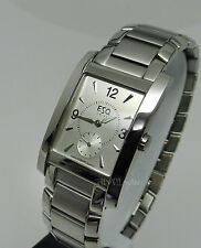 Mens Authentic Esquire ESQ Swiss Movado Venture Rectangular Stainless Watch
