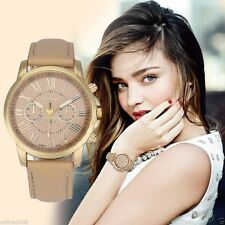 Womens Fashion Geneva Roman Numerals Leather Analog Quartz Wrist Watch Vogue