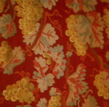 RUBELLI Cana Floral Woven Red Gold Woven Remnant New