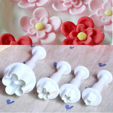4PCS Plum blossom Flower Fondant Cake Gum Paste Plunger Cutter Sugarcraft Stamp