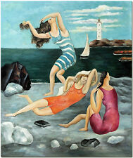 Pablo Picasso Women Bathing - Signed Hand Painted Beach Figurative Oil Painting