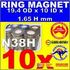 10X RING Neo Rare Earth Magnets OD19.4 X ID10 X H1.65 N38H