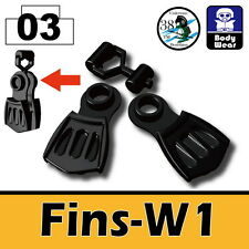 Fins-W1 (W75) Navy Seal Flippers compatible with toy brick minifigures